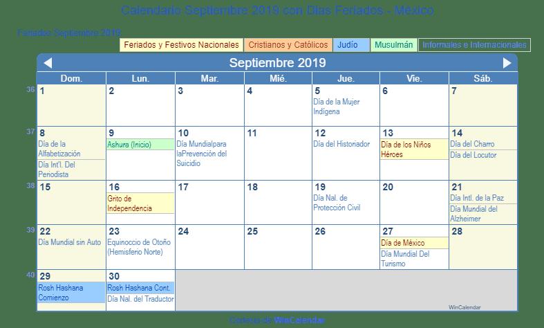 Calendario De Septiembre 2019 Para Imprimir Animado.Calendario Septiembre 2019 Con Dias Feriados Mexico