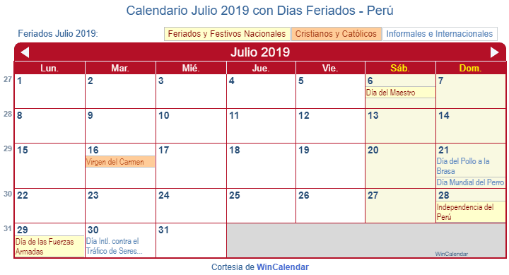 Mes De Julio Calendario.Calendario Julio 2019 Con Dias Feriados Peru