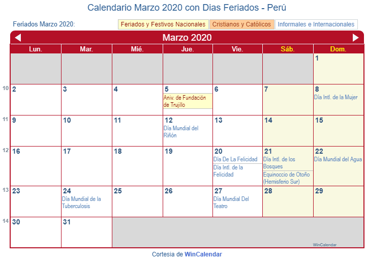 Calendario Marzo 2020 Chile.Calendario Marzo 2020 Con Dias Feriados Peru