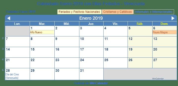 Calendario Panama 2019 Con Festivos.Calendario Enero 2019 Con Dias Feriados Venezuela