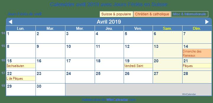 Calendrier Paques 2019.Calendrier Avril 2019 Avec Jours Feries Suisse
