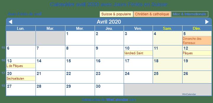 Calendrier Avril 2020 Avec Jours Fériés Suisse