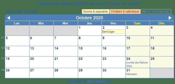 Calendrier Octobre 2020.Calendrier Octobre 2020 Avec Jours Feries Suisse