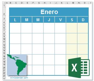 Calendario Liturgico 2021 Excel Calendario Excel 2021 con dias feriados America