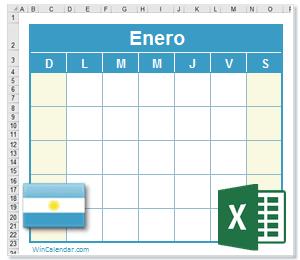 Calendario Agosto 2020 Argentina.Calendario Excel 2020 Con Dias Feriados Argentina