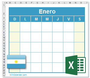 Calendario Excel 2021 con dias feriados Argentina