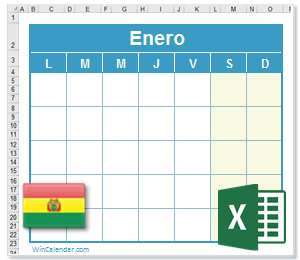 Calendario 2020 Excel.Calendario Excel 2018 Con Dias Feriados Bolivia