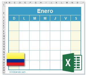 Calendario Colombia 2020.Calendario Excel 2020 Con Dias Feriados Colombia