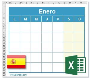 Calendario Excel 2021 con dias feriados España