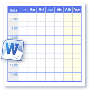 Como Hacer Calendario En Word.Plantillas Horario Para Imprimir En Formato De Word Y Open Office