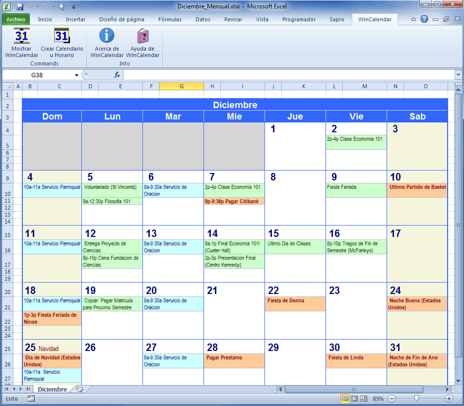 Calendario 2020 Excel Mensual.Creador De Calendario Para Word Y Excel