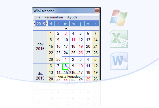 Calendario de Escritorio Windows Gratis