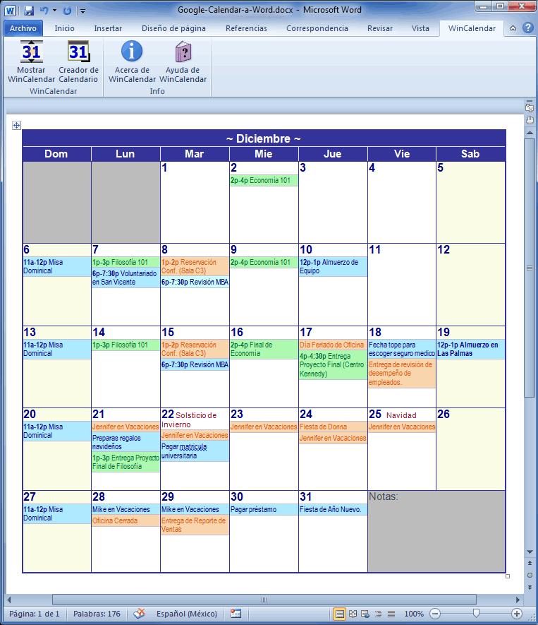Como Hacer Un Calendario En Word.Creador De Calendario Con Dias Feriados Para Microsoft Word