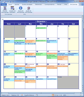 Calendario Google mensual como en Word