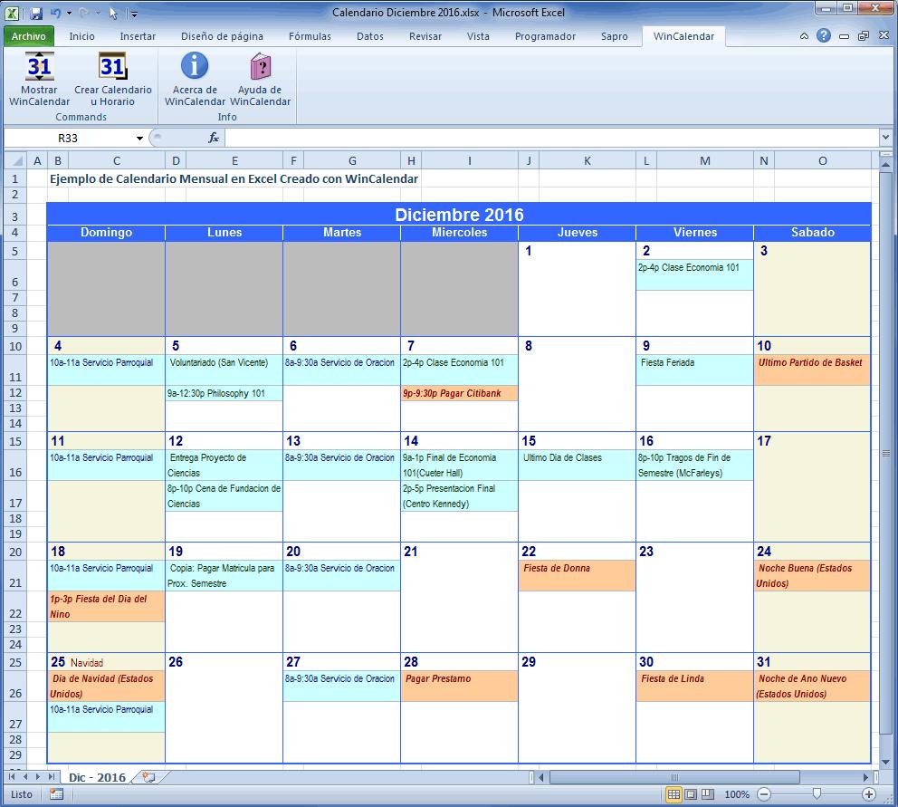Calendario Con Excel.Wincalendar Creador De Calendario Excel Con Dias Feriados