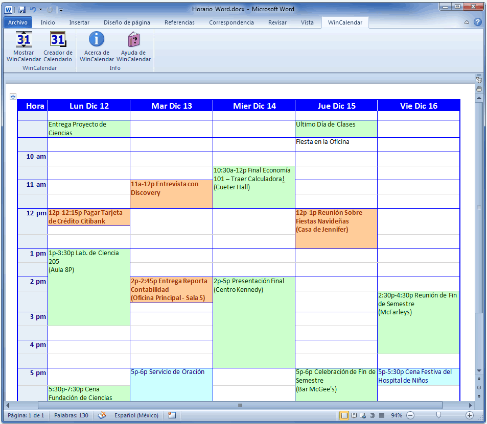 Calendario Mensual Word.Creador De Calendario Para Word Y Excel