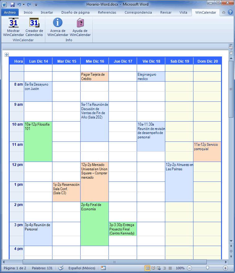 Creador de Calendario con Días Feriados para Microsoft Word