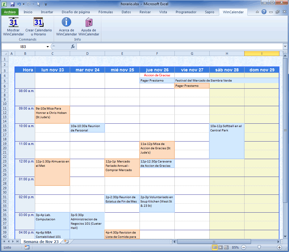 calendarios en excel