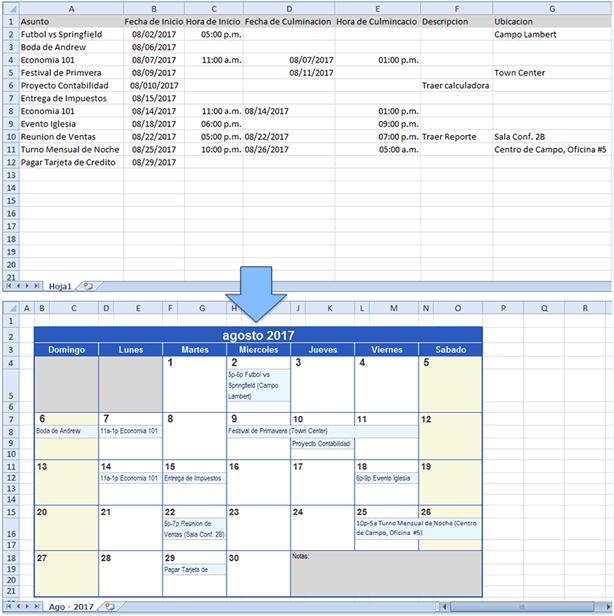 Crear un Calendario con data de Excel