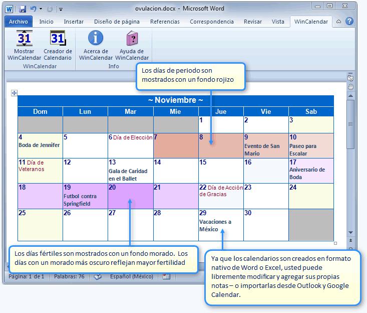 Crear un Calendario de Período y Fertilidad en Word o Excel