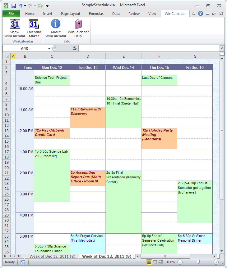 make a schedule in excel