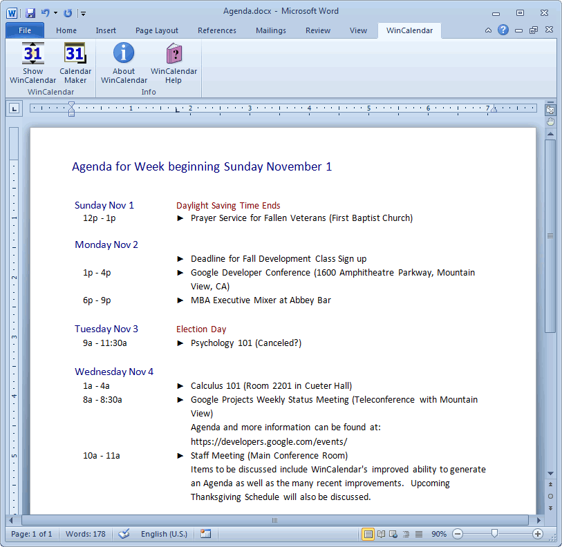 Marvelous Agenda With Google U0026 Outlook Data In Agenda Creator