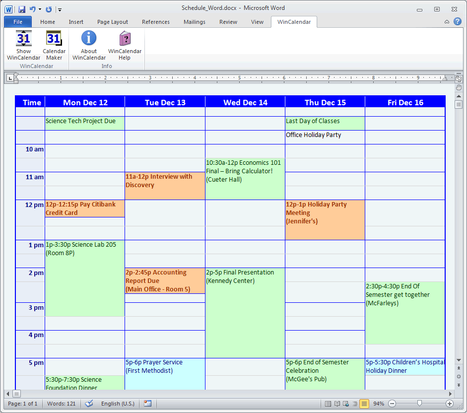 Weekly Calendar Creator : Calendar maker creator for word and excel