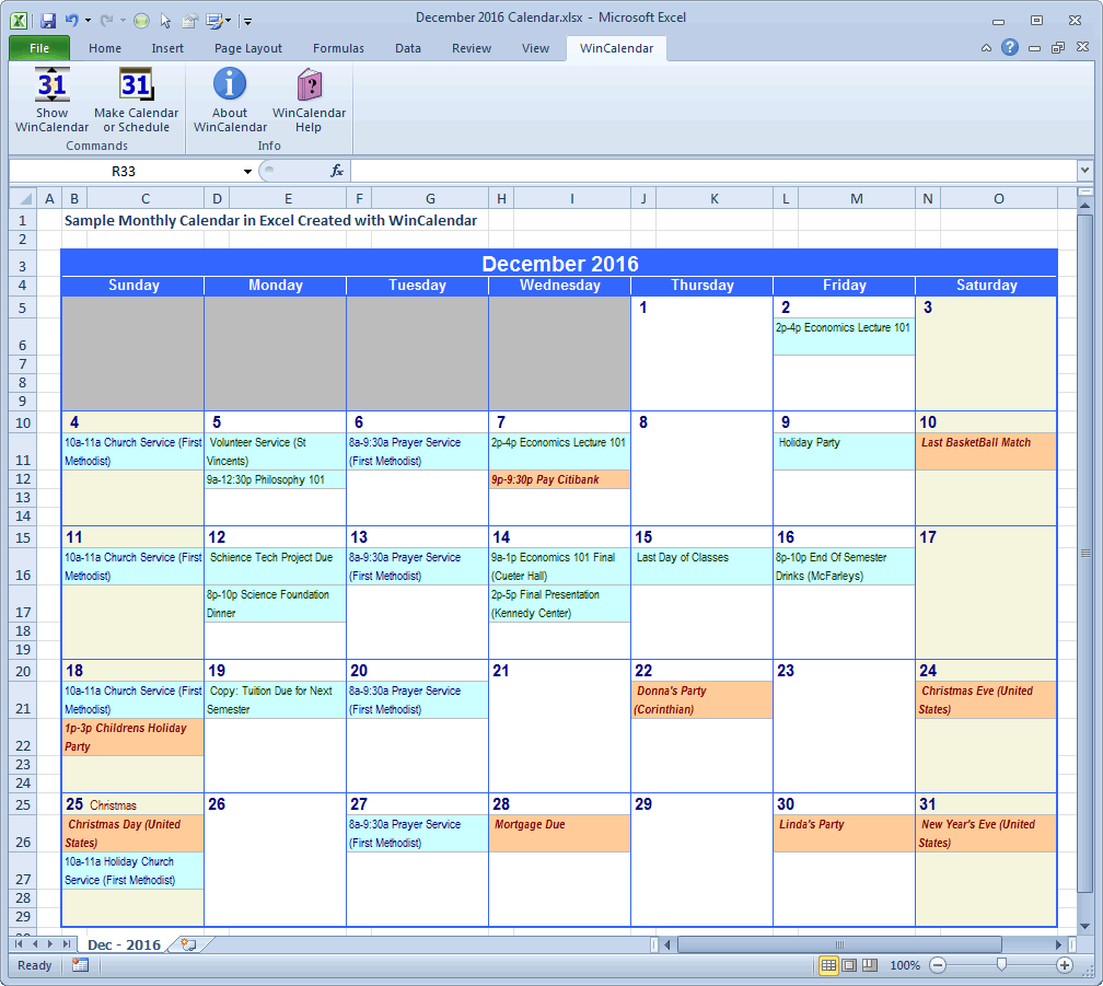 Wincalendar excel calendar creator with holidays monthly calendar with excel data geenschuldenfo Choice Image