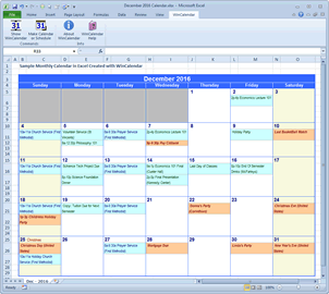 Monthly Calendar with Excel data