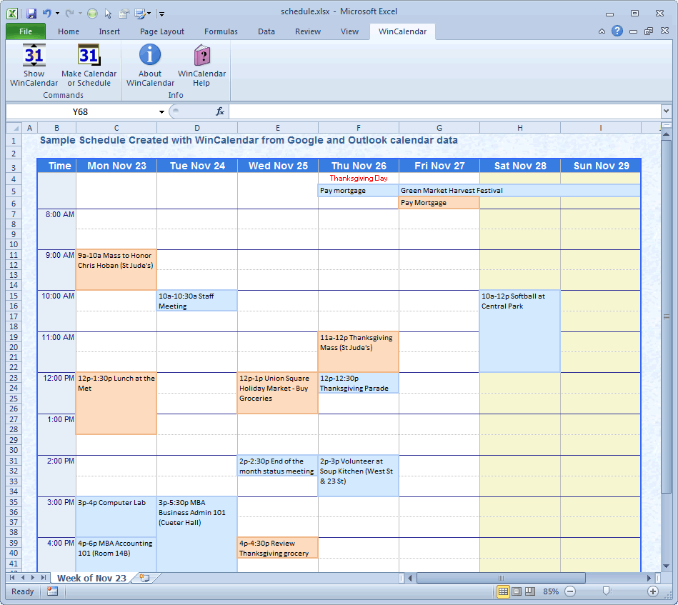 Wincalendar excel calendar creator with holidays calendar maker schedule sample schedule created with wincalendar in excel excel gantt chart geenschuldenfo Choice Image
