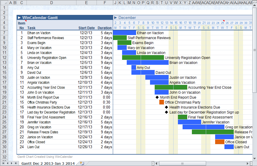 calendar data as timeline gantt chart in excel