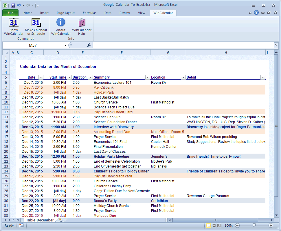 Google Calendar to Excel Table