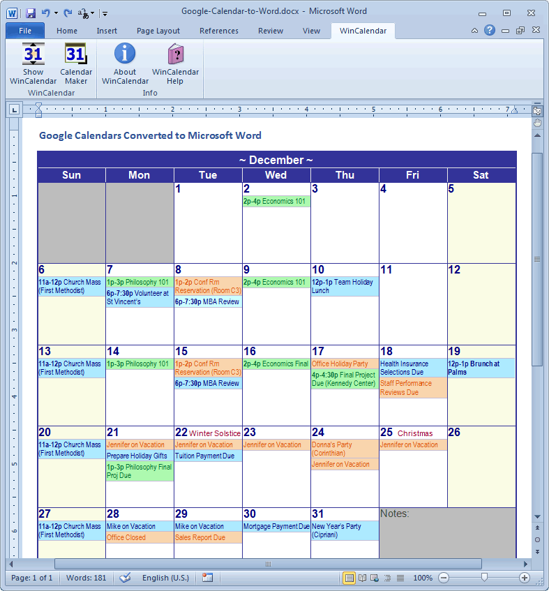 google calendar as monthly