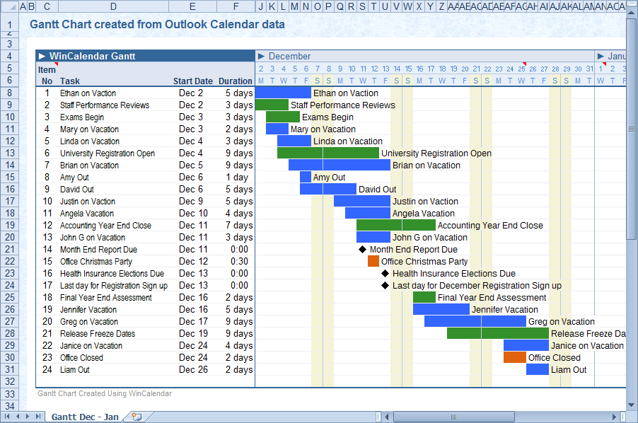Convert Outlook Calendar To Excel And Word - Yearly timeline template excel