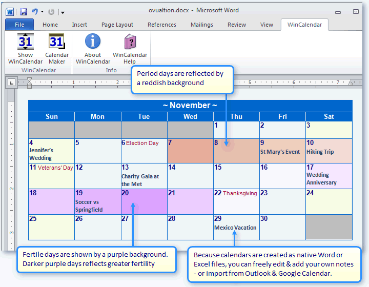 Ovulation and fertility Calendar in Word