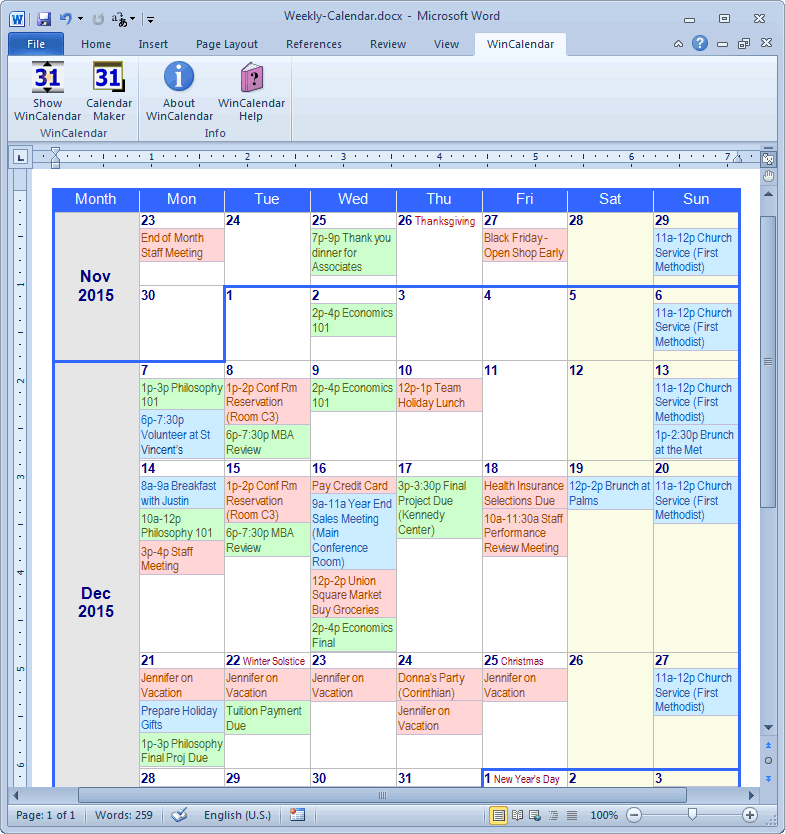 Calendar maker calendar creator for word and excel for Create planner online