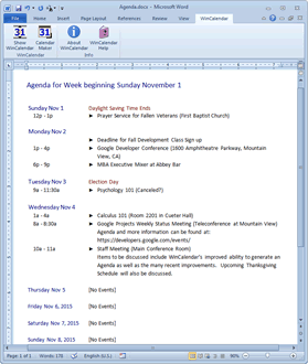 Agenda with iCal data in Word