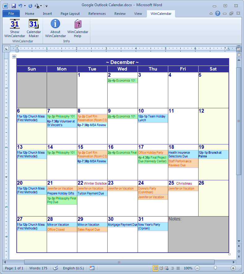 Word Monthly Calendar With Import Data