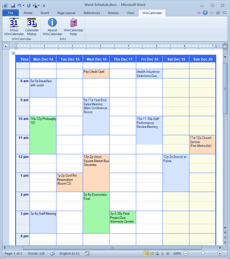 Schedule Calendar With Appointments  Calendar Template On Word