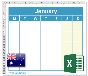 2018 Excel Calendar with AU Holidays