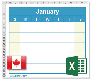 2019 Excel Calendar with CA Holidays