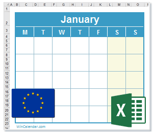 2018 Excel Calendar With Eu Holidays