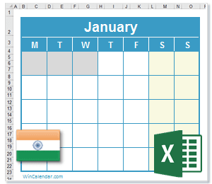 2021 Excel Calendar With Festive And National Holidays India