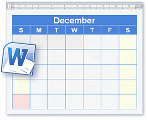 word downloadable calendar