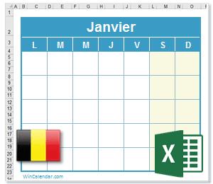 Calendrier Excel 2021 avec Fêtes Nationales   Belgique