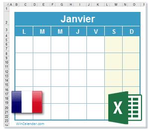 Calendrier Excel 2021 avec Fêtes Nationales   France
