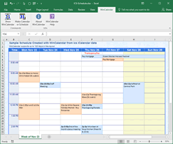 iCalendar converted to Monthly formated Calendar in Excel
