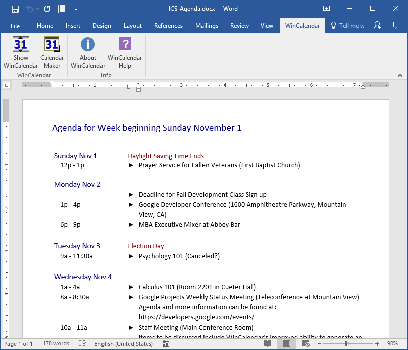 Convert iCalendar/ics to Excel and Word