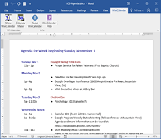 iCalendar converted to Agenda in Word