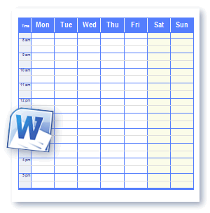Printable Schedule Templates In Word And Open Office Format - Monday through friday schedule template